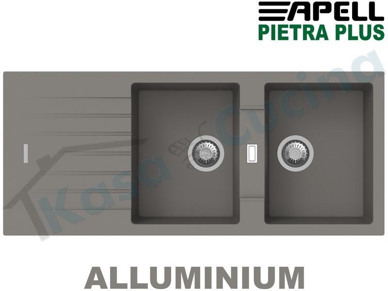 Lavello Cucina 2 Vasche cm.116X50 New Pietra Plus Fragranite Alluminio