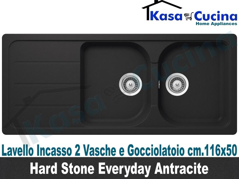 Lavello Cucina 2 Vasche cm.116X50 Everyday Fragranite Antracite