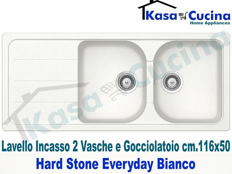 Lavello Cucina 2 Vasche cm.116X50 Everyday Fragranite Bianco