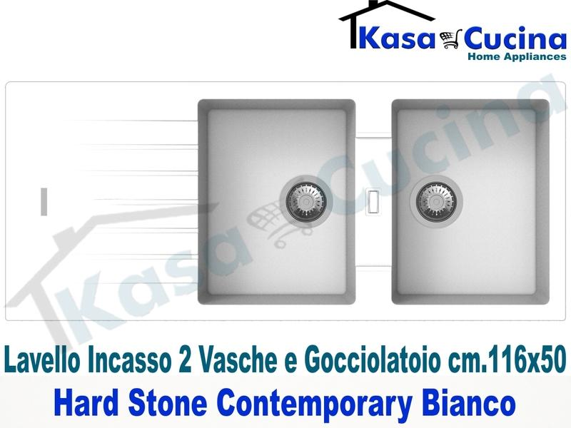 Lavello da Incasso Contemporary cm.116X50 Fragranite Bianco 2 Vasche