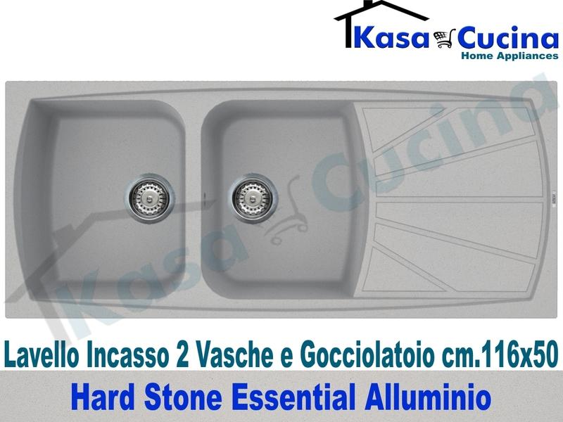 Lavello da Incasso Essential cm.116X50 Fragranite Alluminio 2 Vasche ...