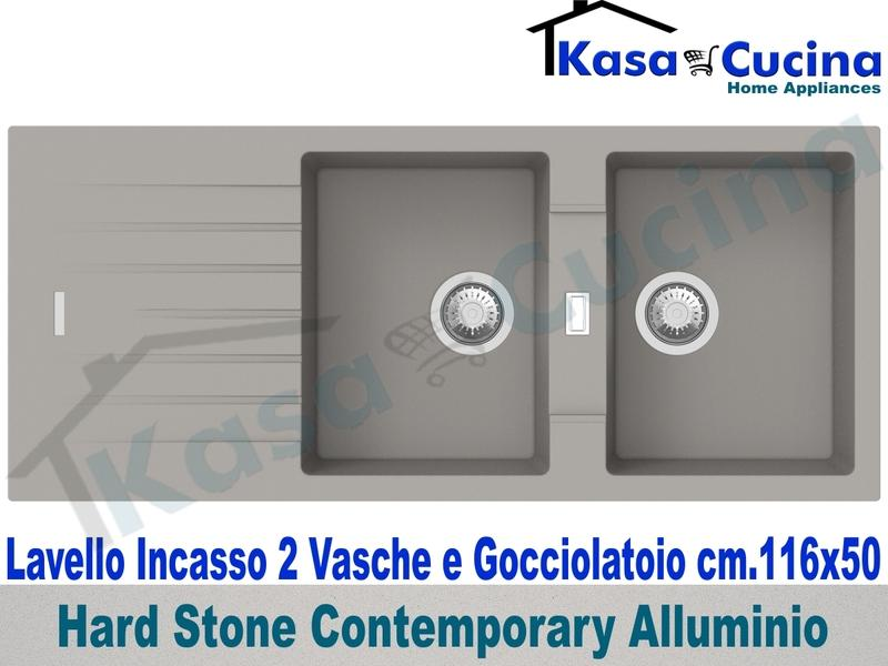 Lavello da Incasso Contemporary cm.116X50 Fragranite Alluminio 2 Vasche