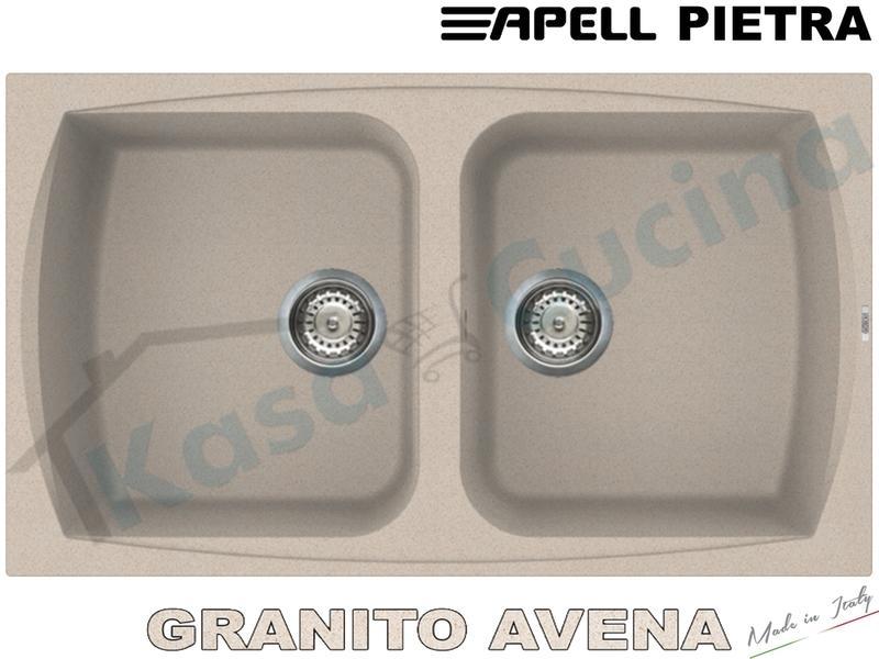 Lavello da Incasso Pietra cm.86x50 Fragranite Avena 2 Vasche ...