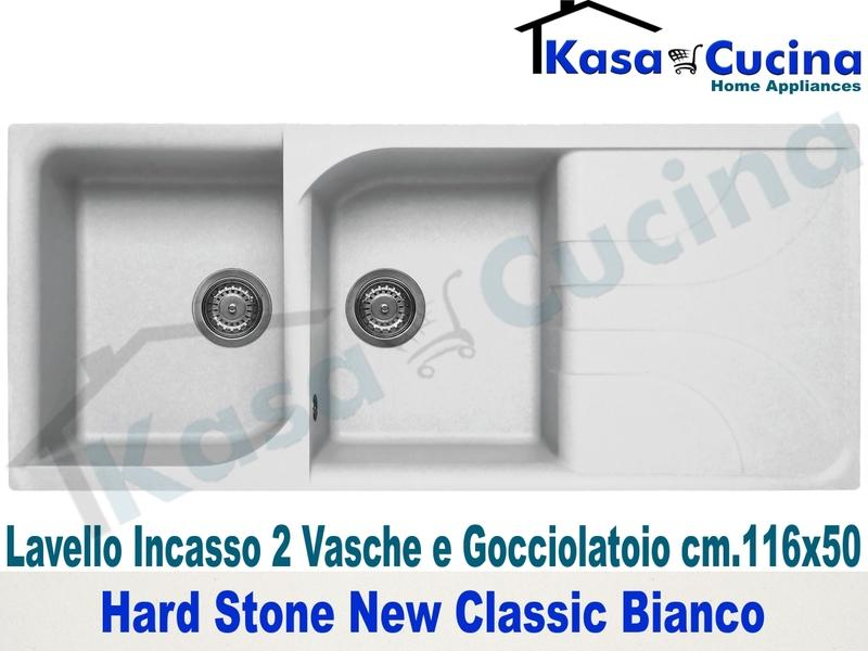 Lavello da Incasso Classic New cm.116X50 Fragranite Bianco 2 Vasche