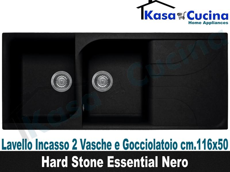 Lavello da Incasso Classic New cm.116X50 Fragranite Nero 2 Vasche