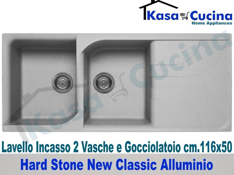 Lavello da Incasso Classic New cm.116X50 Fragranite Alluminio 2 Vasche