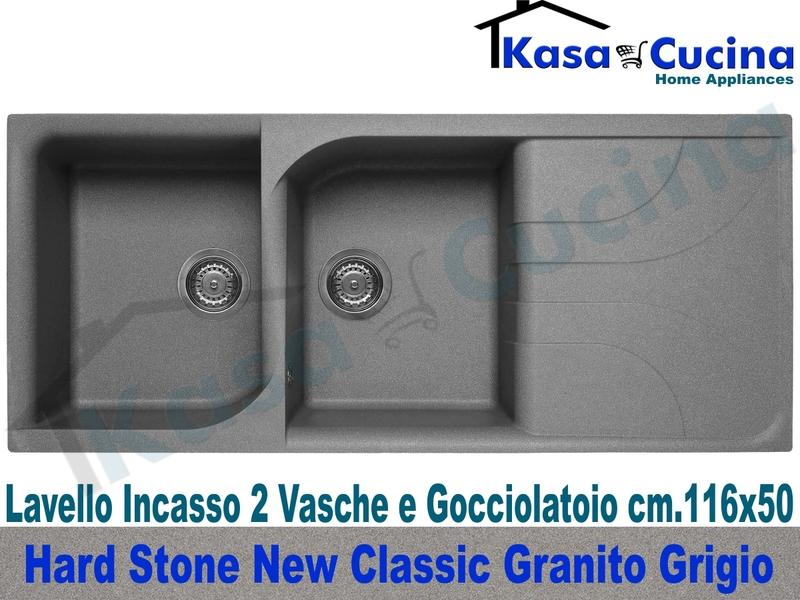 Lavello da Incasso Classic New cm.116X50 Fragranite Grigio 2 Vasche