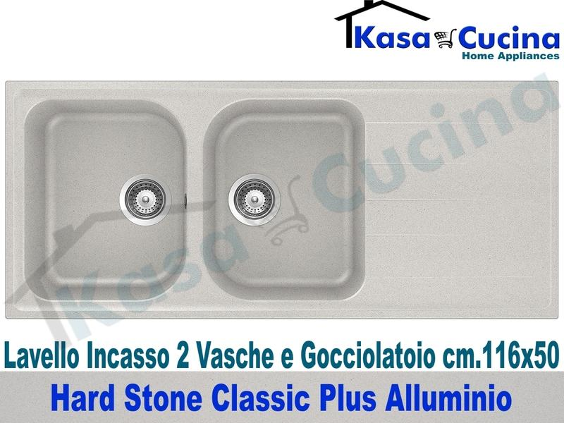 Lavello da Incasso Classic Plus cm.116X50 Fragranite Alluminio 2 Vasche