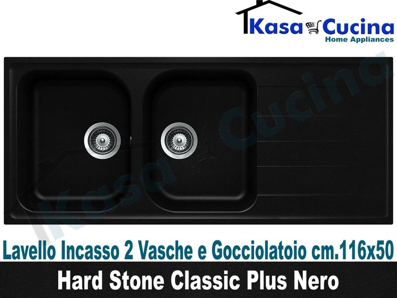 Lavello da Incasso Classic Plus cm.116X50 Fragranite Nero 2 Vasche