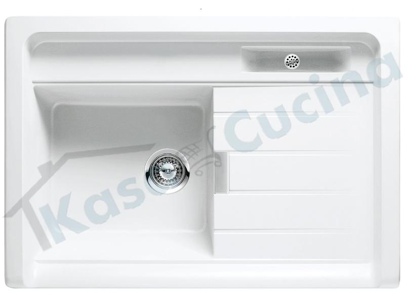 Lavello da Appoggio Largo 1 Vasca cm.90X62,8 Cristadur® Bianco Puro