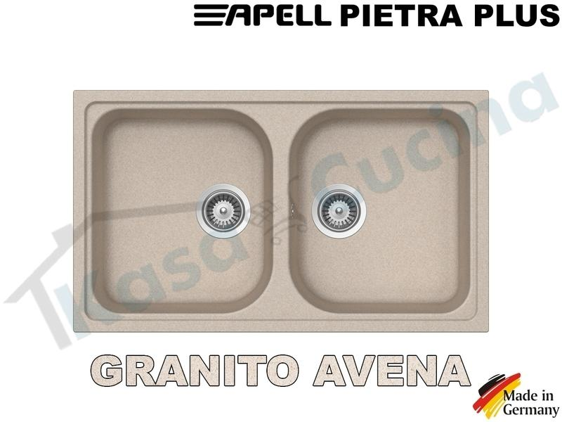 Lavello da Incasso Pietra Plus cm.86x50 Fragranite Avena 2 Vasche
