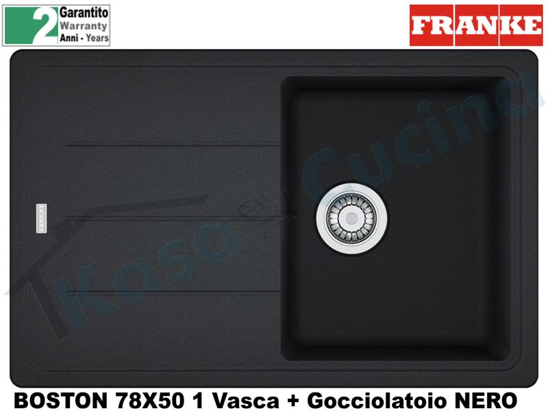 Lavello 78 X 50 1V + Gocc. Franke BFG611-78 9899872 Boston Nero