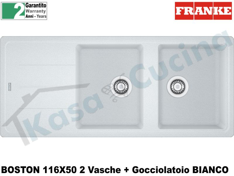 Lavello 116 X 50 2V + Gocc. Franke BFG621 9899995 Boston Bianco