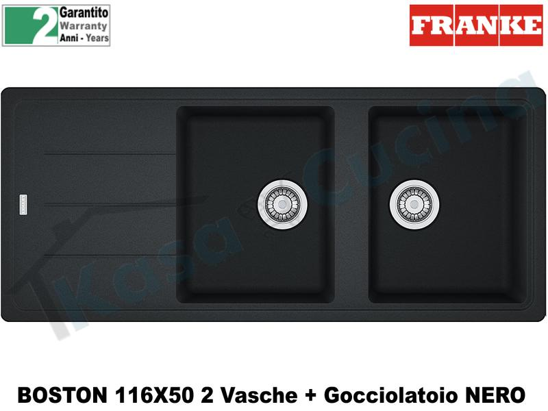 Lavello 116 X 50 2V + Gocc. Franke BFG621 9899993 Boston Nero