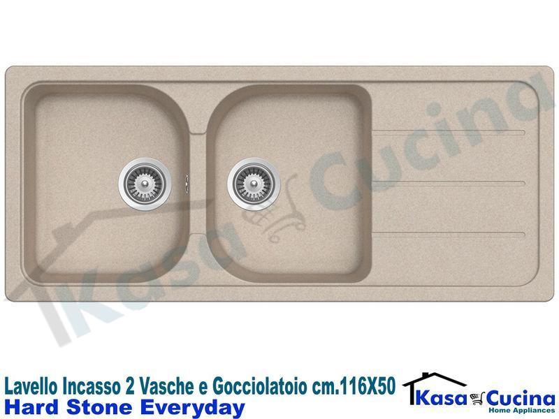 Lavello Fragranite Incasso Cucina Apell PTSH1162GB cm.116X50 2 Vasche Nero