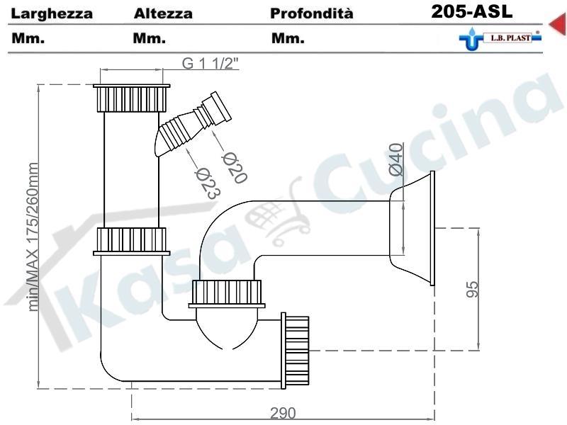Sifone 1 via ispezionabile l b plast 205 als con attacco - Scarico lavello cucina ...