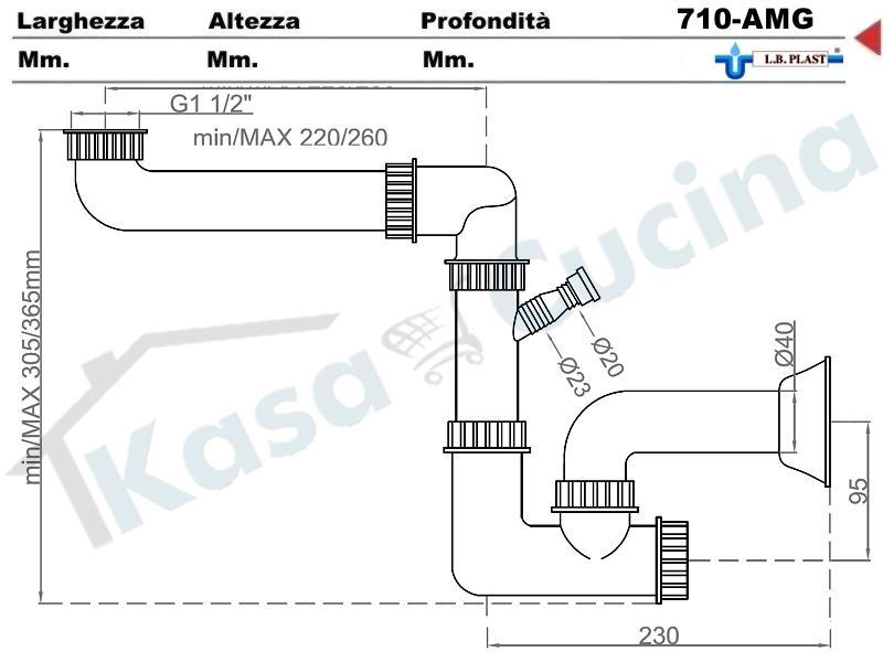 sifone 1 via ispezionabile l.b.plast 710-amg space-sever con attacco