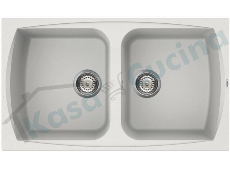Kasa Cucina elettrodomestici da incasso | Lavello da Incasso Pietra Plus  cm.86x50 Fragranite Bianco 2 Vasche