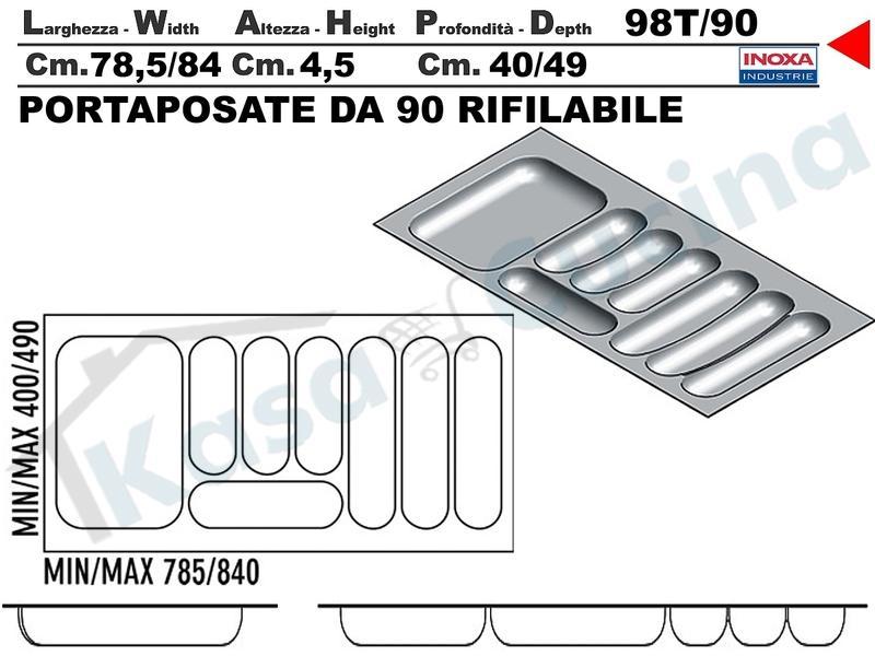 Portaposate Per Cassettiera Da 90 Cm.Portaposate Inoxa 98t 90 Pvc Grigio Rifilabile Per Cassetto Da Cm 90