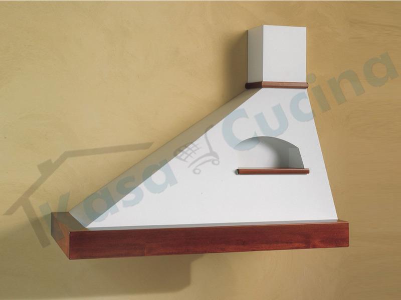 Cappa Trapezio Cm.90 sinistra cornice legno grezzo lamiera bianca/panna