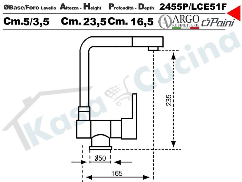 Miscelatore Argo Paini 2455PLC73 Como Sottofinestra