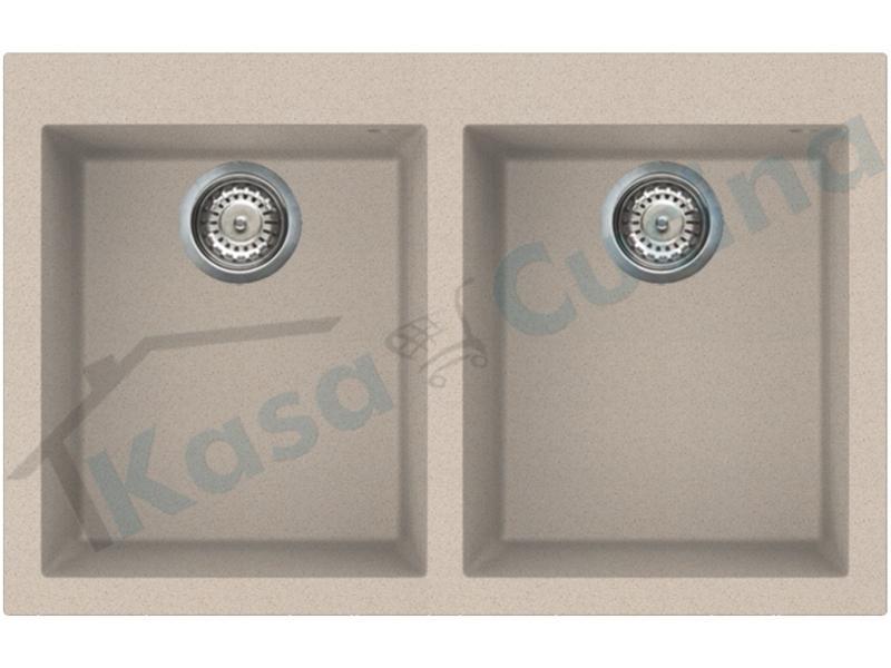 Lavello Fragranite Incasso Cucina Apell Pietra Zero Plus 79X50 1 Vasca GW Bianco