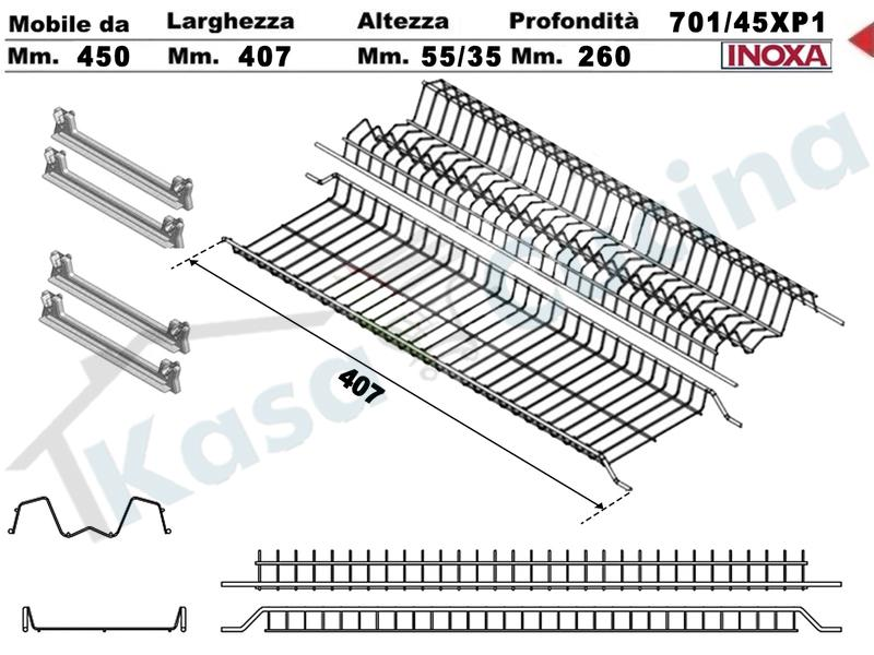 Kit Inoxa Scolapiatti 701/45XP1 Cm 45 Inox 4 Art 901 Staffe