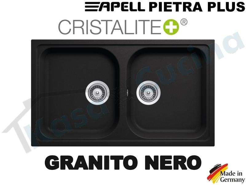 Lavello da Incasso Pietra Plus cm.86x50 Fragranite Nero 2 Vasche