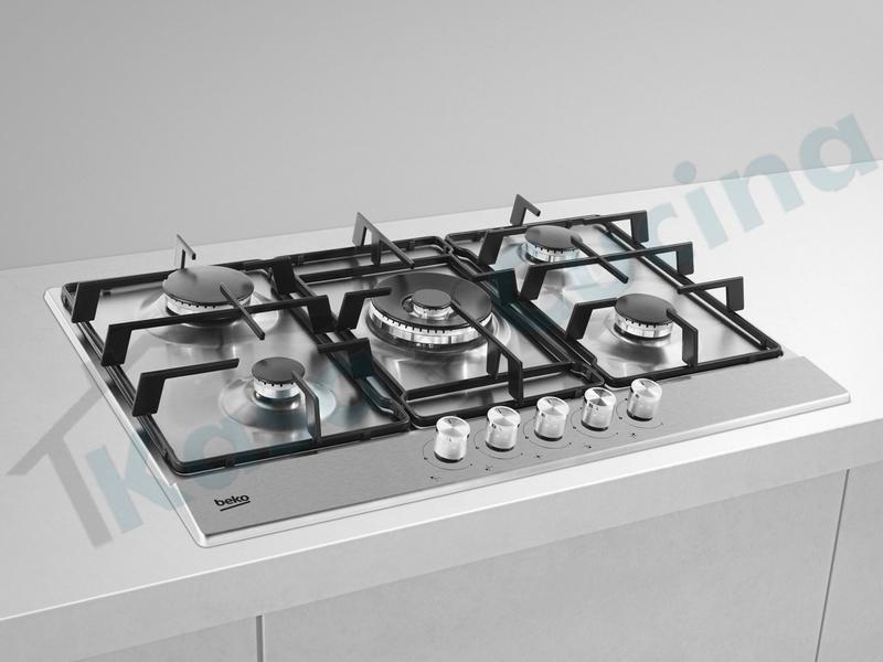 Piano Cottura Incasso cm.75 Acciaio Inox 5 Fuochi Gas | Kasa Cucina ...