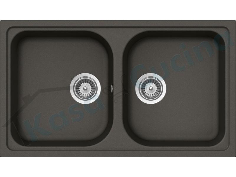 Lavello da Incasso Cucina 2 Vasche Lithos cm.86x50 Cristalite ...